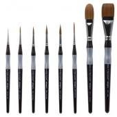 KingArt Precision Premium Brush Set, 8 Piece - Amber and Golden Taklon Brushes