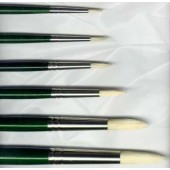 Winton Hog Bristle Long Dark Green Handle - Round Brushes